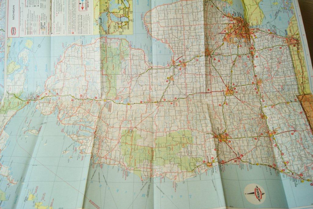 1969年☆TEXACO ビンテージロードマップ☆MICHIGAN                                    [zm-029]