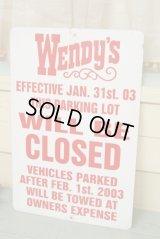 Wendy's☆ビンテージ パーキングサイン