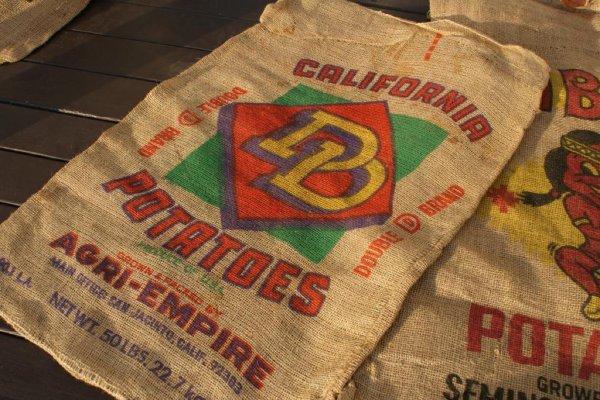 画像1: アメリカンビンテージサック ポテト麻袋CALIFORNIA POTATOES