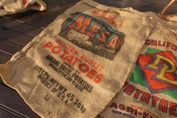 画像1: アメリカンビンテージサック ポテト麻袋MESA